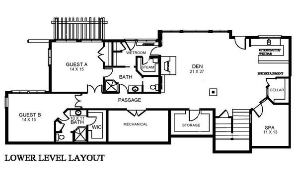 Traditional Floor Plan - Lower Floor Plan #921-5