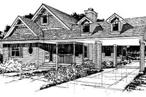 Country Exterior - Front Elevation Plan #50-228