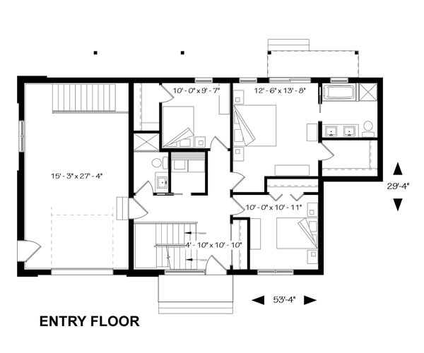 Bedroom Level Inverted Floorplan