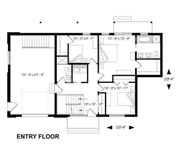 Bedroom Level Inverted Floorplan