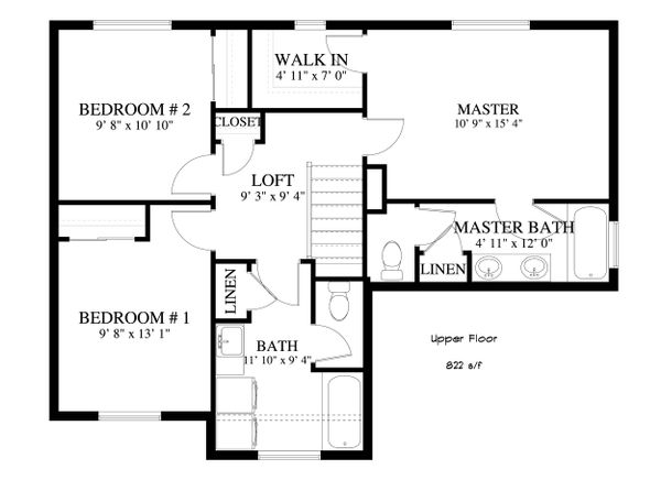 Traditional Floor Plan - Upper Floor Plan Plan #1060-4