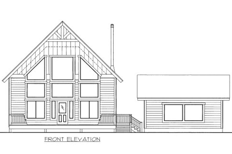 Cabin Style House Plan - 2 Beds 2.5 Baths 1636 Sq/Ft Plan #117-760 Exterior - Front Elevation