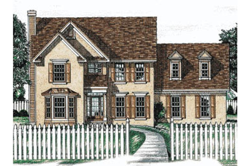 Colonial Exterior - Front Elevation Plan #20-221
