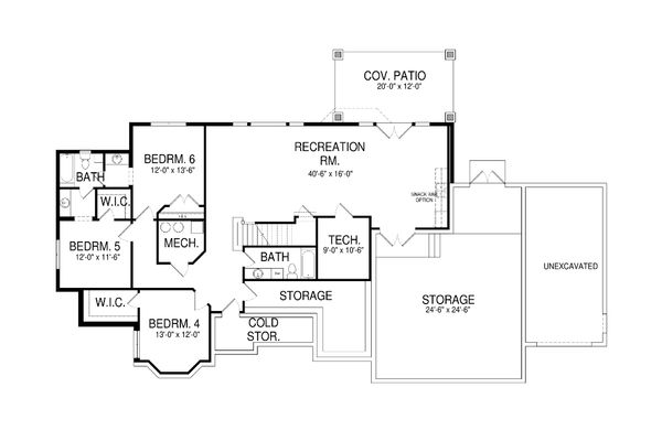 European Floor Plan - Lower Floor Plan Plan #920-60