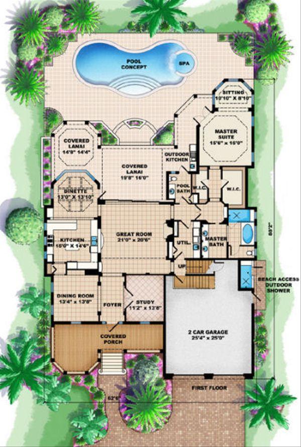 Beach Floor Plan - Main Floor Plan Plan #27-412