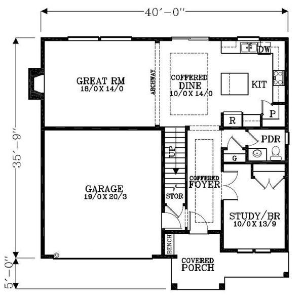 Craftsman Floor Plan - Main Floor Plan Plan #53-451
