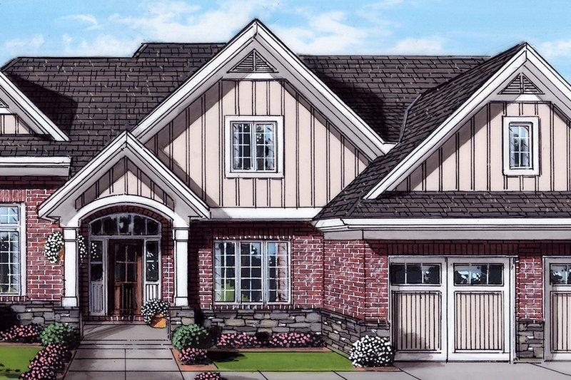 Craftsman Exterior - Front Elevation Plan #46-898