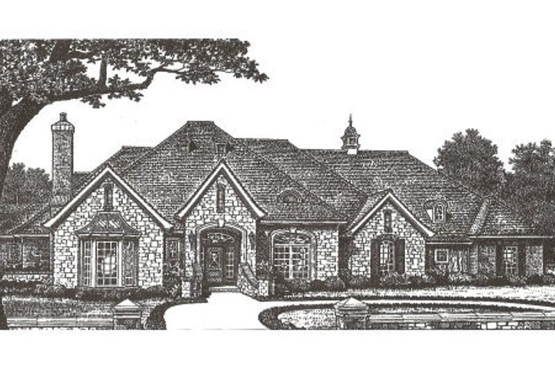 European Style House Plan - 4 Beds 3.5 Baths 3487 Sq/Ft Plan #310-334 Exterior - Front Elevation