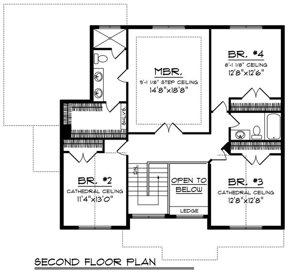 Craftsman Floor Plan - Upper Floor Plan Plan #70-1218