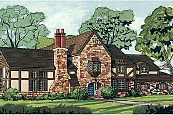 Tudor Exterior - Front Elevation Plan #12-123