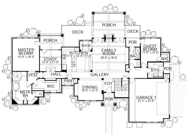 Craftsman Floor Plan - Main Floor Plan #80-205