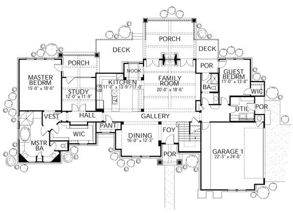 Dream House Plan - Craftsman Floor Plan - Main Floor Plan #80-205