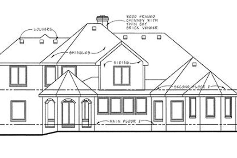 European Exterior - Rear Elevation Plan #20-1705 - Houseplans.com