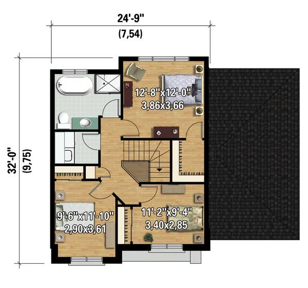 Contemporary Floor Plan - Upper Floor Plan Plan #25-4313
