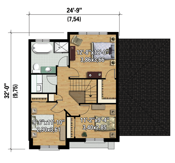 Contemporary Floor Plan - Upper Floor Plan Plan #25-4313