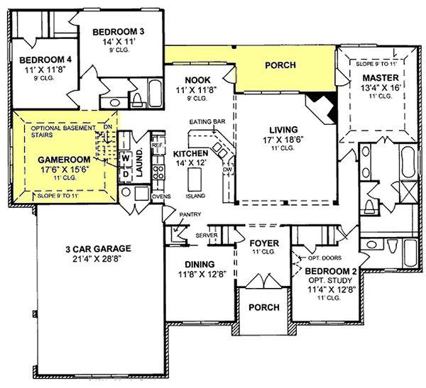 Traditional Floor Plan - Main Floor Plan Plan #20-345