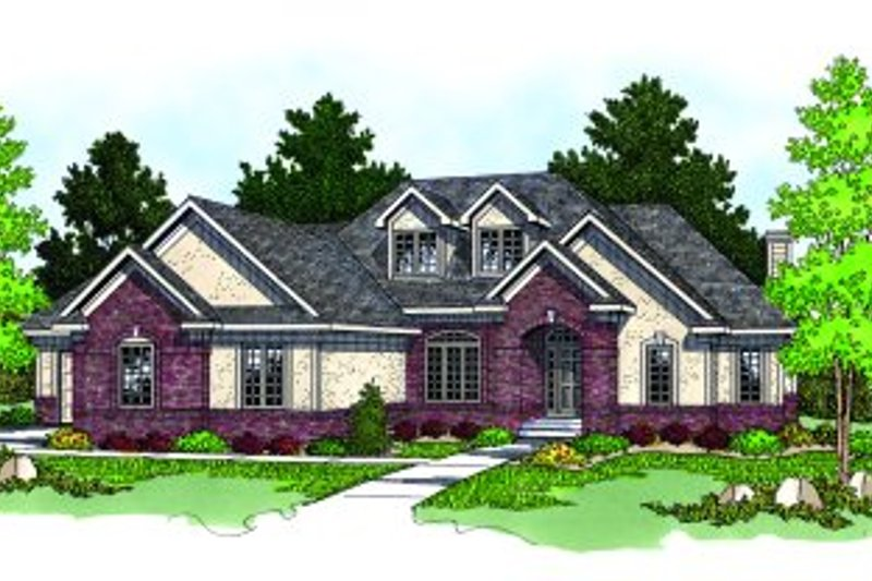 Modern Style House Plan - 4 Beds 2.5 Baths 2857 Sq/Ft Plan #70-459 Exterior - Front Elevation