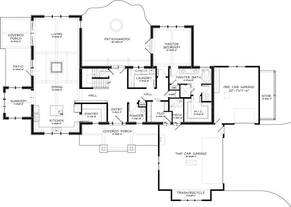 House Plan Design - Craftsman Floor Plan - Main Floor Plan #434-26