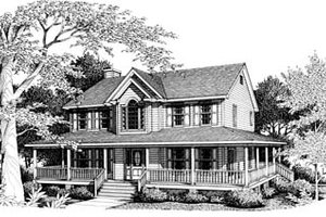 Country Exterior - Front Elevation Plan #10-214