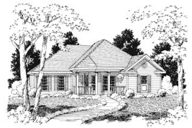 Traditional Style House Plan - 3 Beds 2 Baths 1405 Sq/Ft Plan #37-134 Exterior - Front Elevation