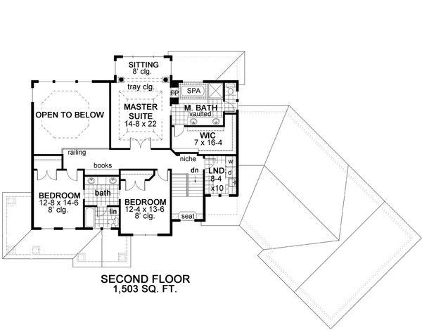 Craftsman Floor Plan - Upper Floor Plan Plan #51-303