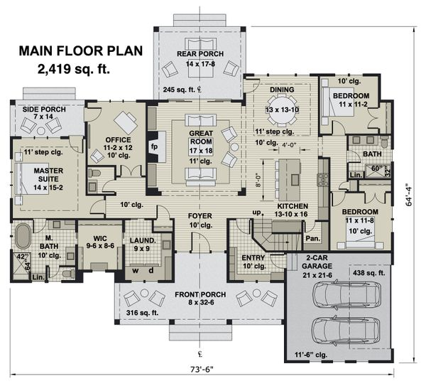 Farmhouse Floor Plan - Main Floor Plan #51-1170