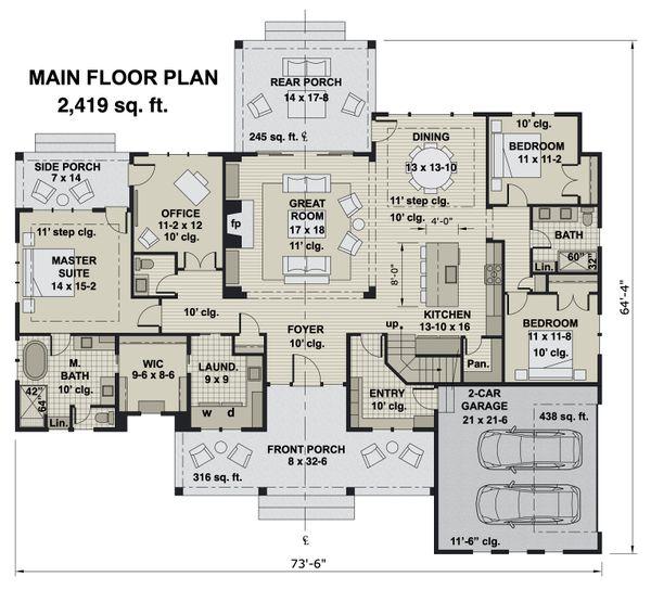 Farmhouse Floor Plan - Main Floor Plan #51-1170