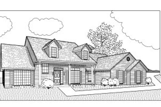 Southern Exterior - Front Elevation Plan #65-476