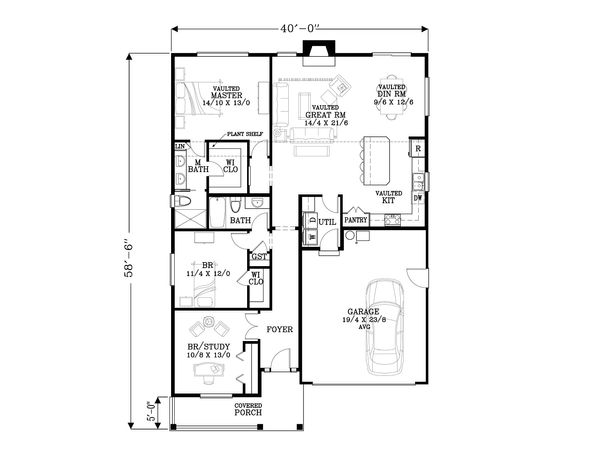 Craftsman Floor Plan - Main Floor Plan Plan #53-549