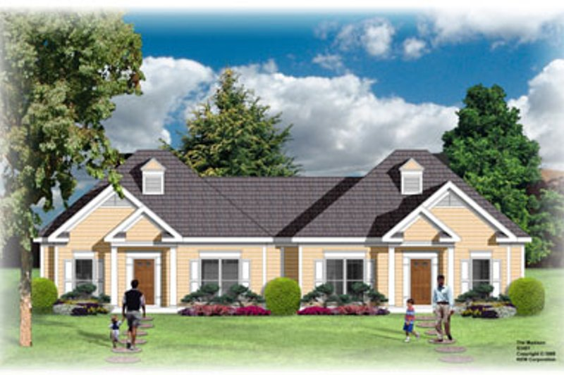 Traditional Style House Plan - 2 Beds 2 Baths 2074 Sq/Ft Plan #26-105 Exterior - Front Elevation