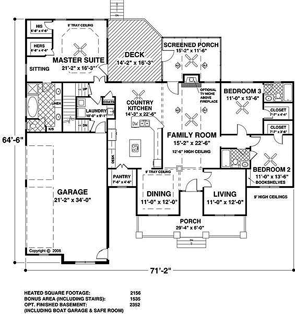 Southern style house plan 3 beds 3 baths 2156 sq ft plan for Southern style floor plans