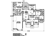 Southern Style House Plan - 3 Beds 3 Baths 2156 Sq/Ft Plan #56-589 Floor Plan - Main Floor Plan