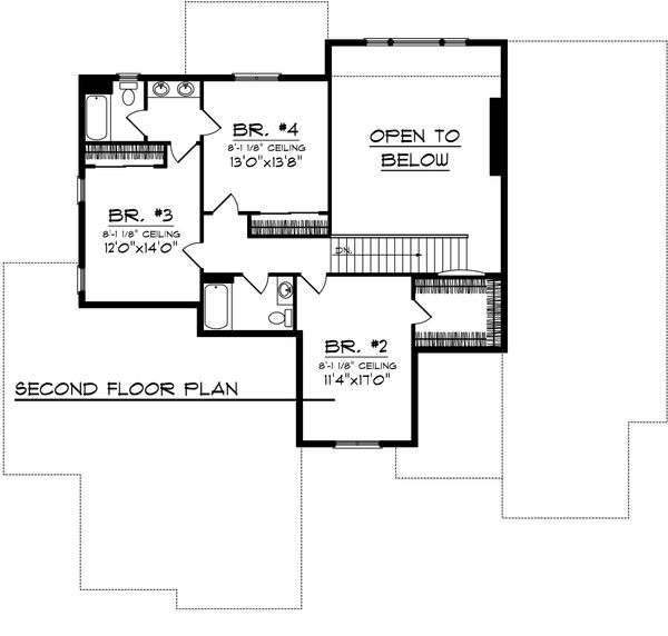 Traditional Floor Plan - Upper Floor Plan Plan #70-1107