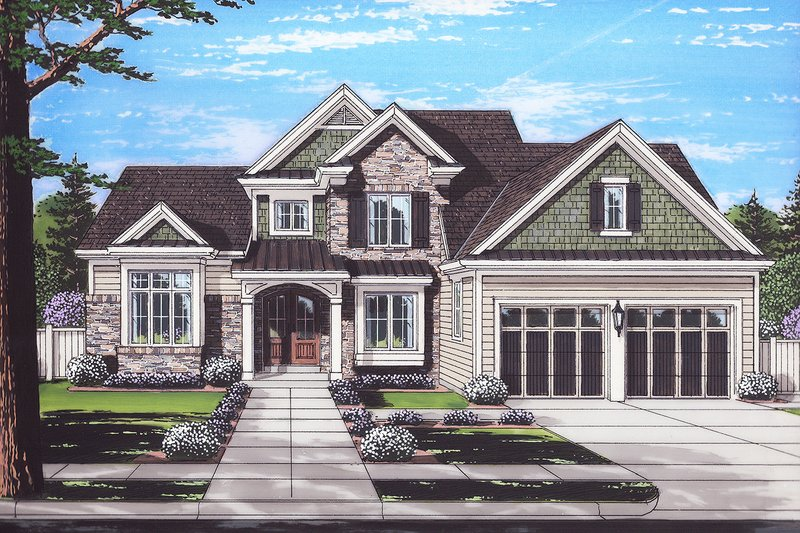 Architectural House Design - Traditional Exterior - Front Elevation Plan #46-873