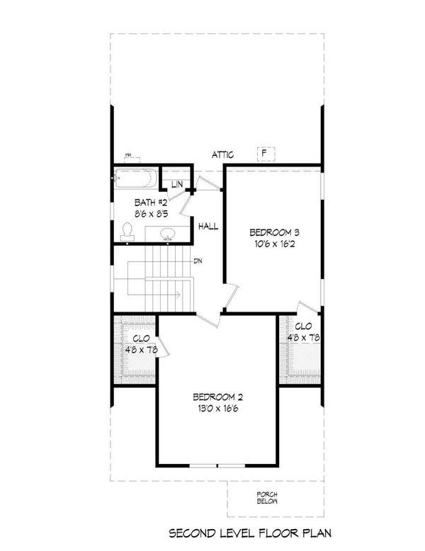 Bungalow Floor Plan - Upper Floor Plan Plan #932-6