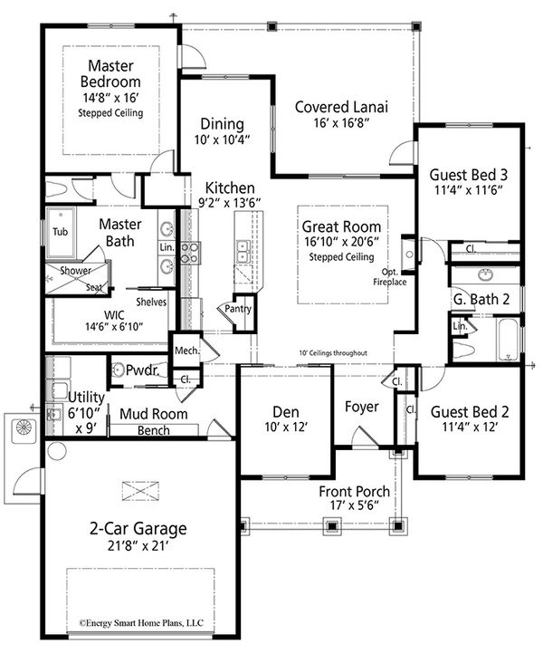 Craftsman Floor Plan - Main Floor Plan Plan #938-100