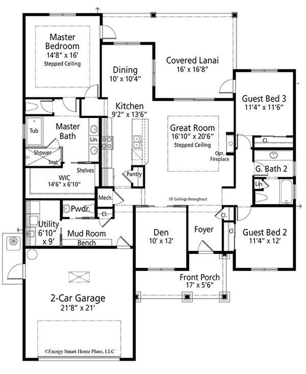 Craftsman Floor Plan - Main Floor Plan Plan #938-100