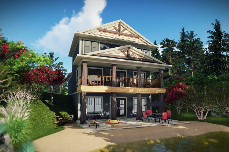 Craftsman Style House Plan - 3 Beds 3.5 Baths 1836 Sq/Ft Plan #70-1492 Exterior - Rear Elevation