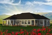 Ranch Style House Plan - 2 Beds 3 Baths 3418 Sq/Ft Plan #70-1232 Exterior - Rear Elevation