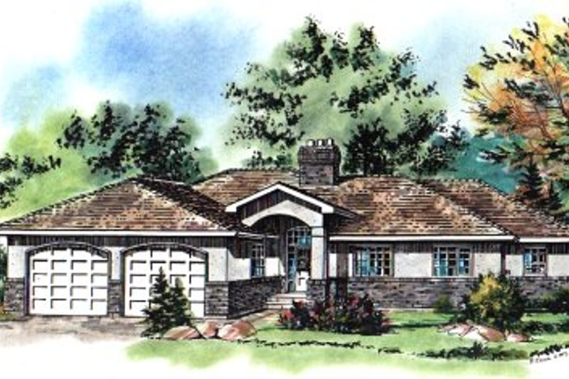 European Style House Plan - 3 Beds 2.5 Baths 1731 Sq/Ft Plan #18-176 Exterior - Front Elevation