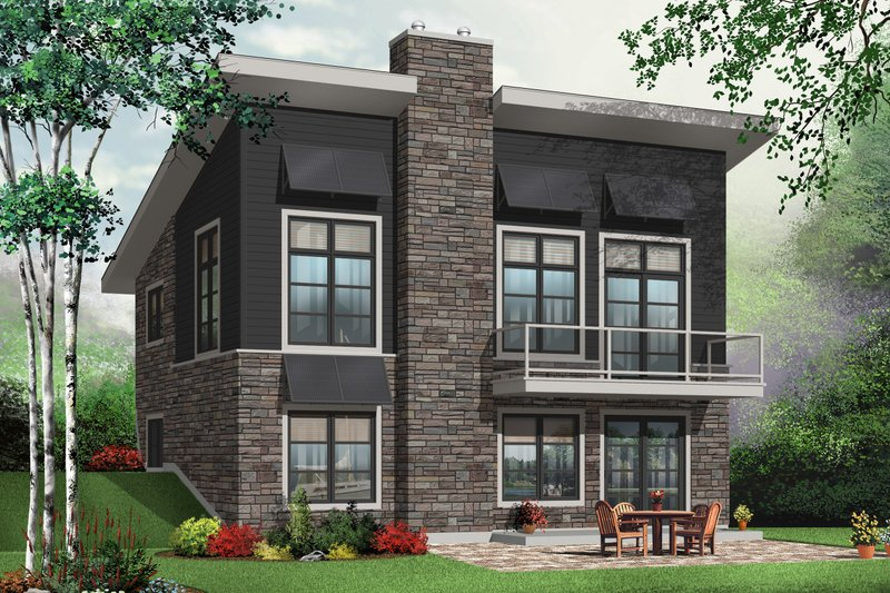 Contemporary Style House Plan - 3 Beds 2 Baths 1759 Sq/Ft Plan #23-2425 Exterior - Front Elevation