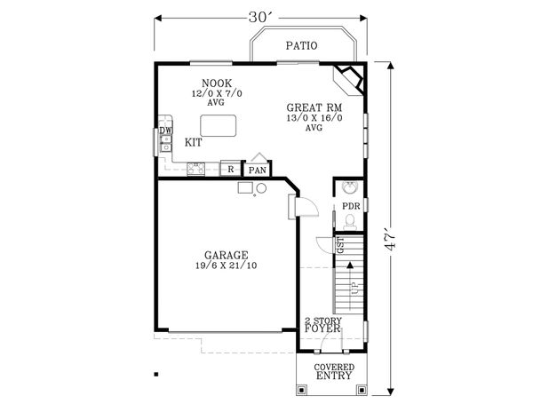 Craftsman Floor Plan - Main Floor Plan Plan #53-608