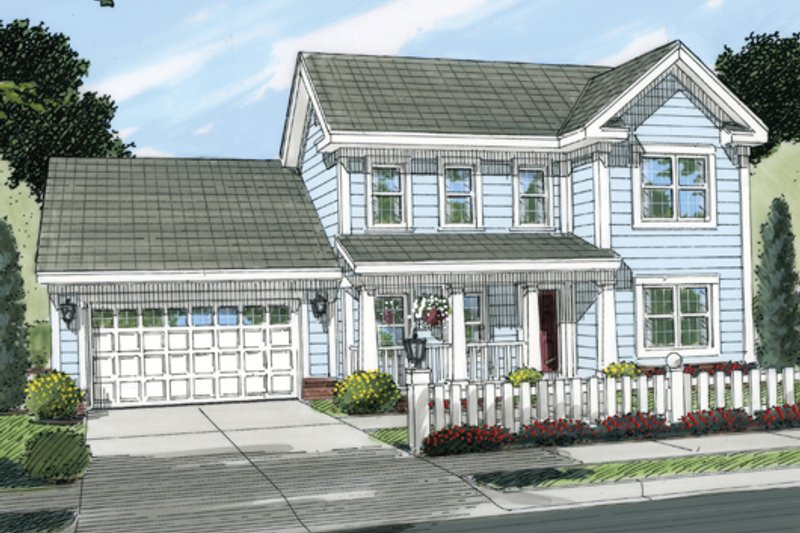 Country Exterior - Front Elevation Plan #513-2056