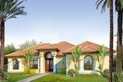 Mediterranean Style House Plan - 3 Beds 2 Baths 1845 Sq/Ft Plan #80-113 Exterior - Front Elevation