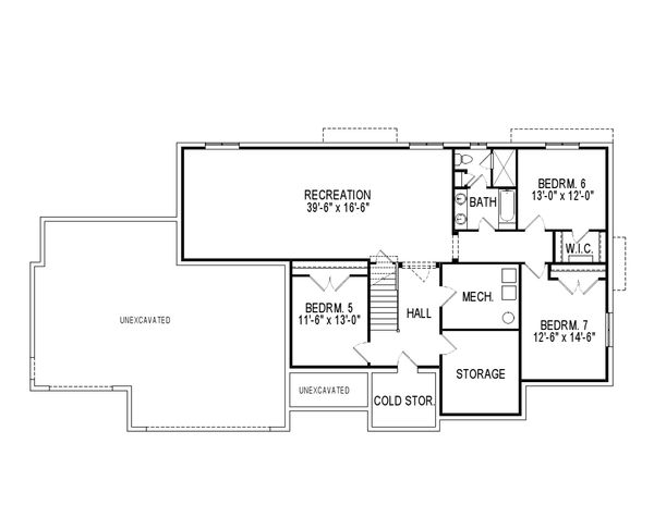 Craftsman Floor Plan - Lower Floor Plan Plan #920-45