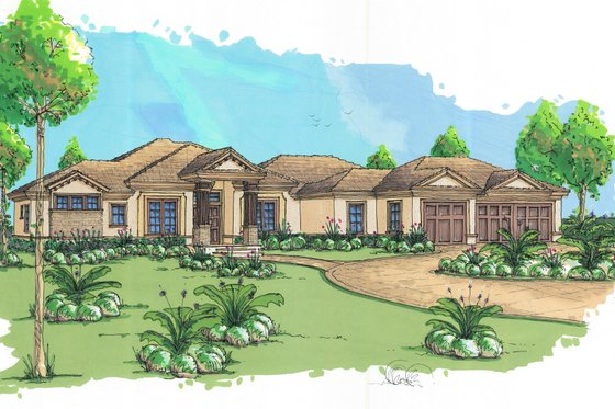 Mediterranean Exterior - Front Elevation Plan #548-1