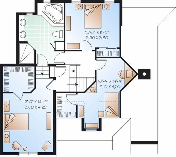 Traditional Floor Plan - Upper Floor Plan Plan #23-802