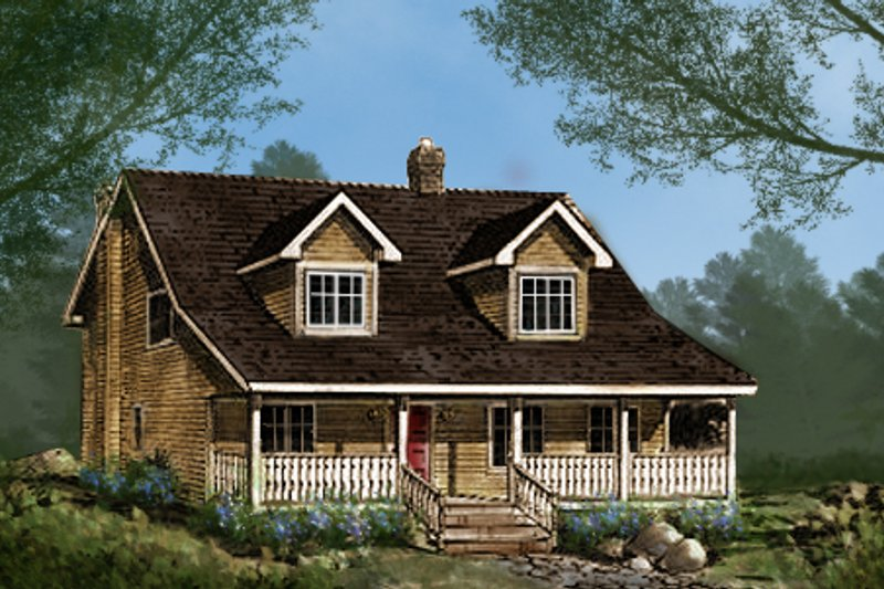 Country Style House Plan - 3 Beds 2.5 Baths 1908 Sq/Ft Plan #427-1 Exterior - Front Elevation