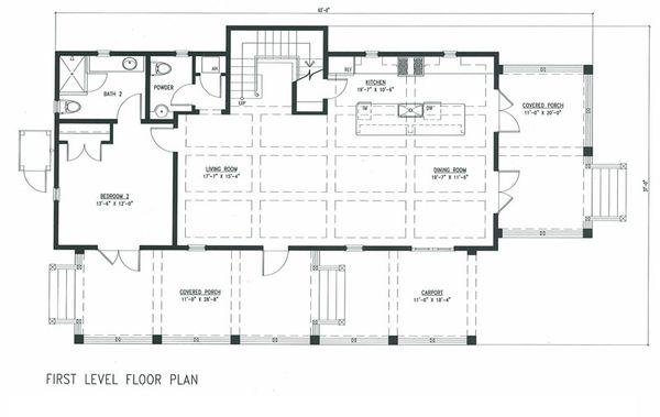 Beach Style House Plan - 4 Beds 4.5 Baths 2359 Sq/Ft Plan #443-9 Floor Plan - Main Floor Plan