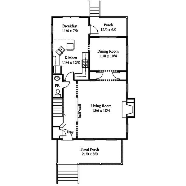 Southern Style House Plan - 3 Beds 2.5 Baths 1760 Sq/Ft Plan #312-732 Floor Plan - Main Floor Plan
